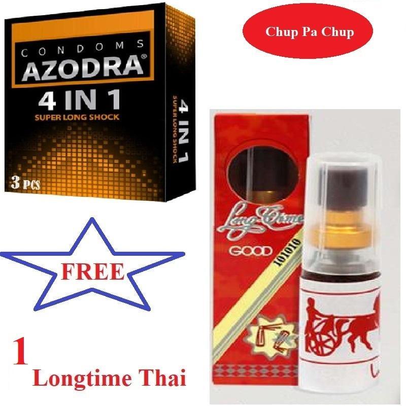 Combo 1 hộp Bao cao su gân gai kéo dài thời gian AZODRA tặng 1 Chai Xịt Longtime