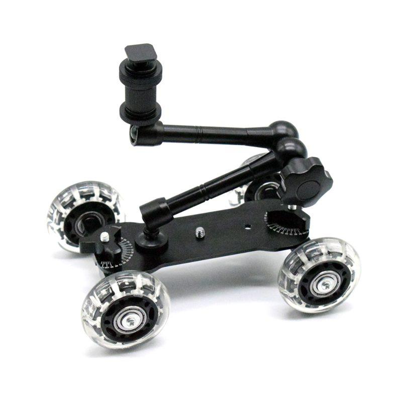 Mã Giảm Giá Mobile Rolling Sliding Dolly Stabilizer Skater Slider 11 Inch Articulating Magic Arm Camera Rail Stand Photography Car