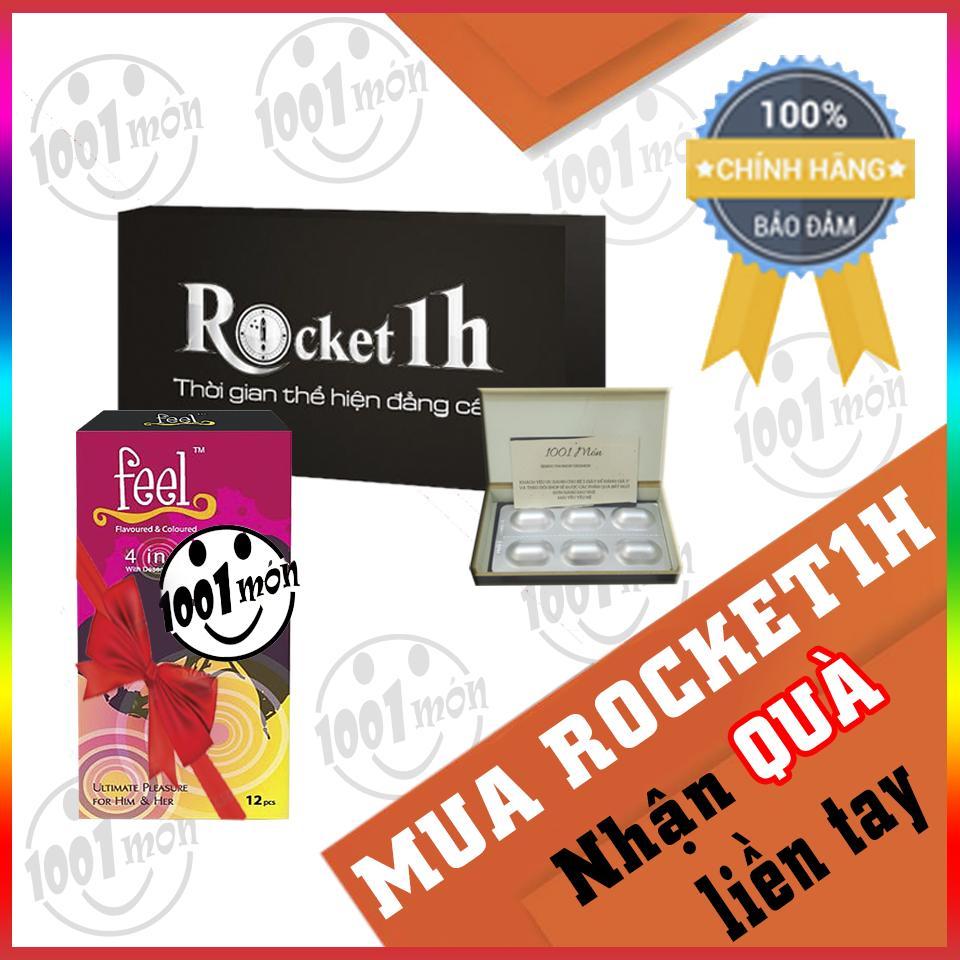 Combo 1 hộp rocket 1h (6 viên) + 1 hộp bao cao su feel 4in1 (12 cái)  - ( Nhiều mẫu1001 shop ) chính hãng