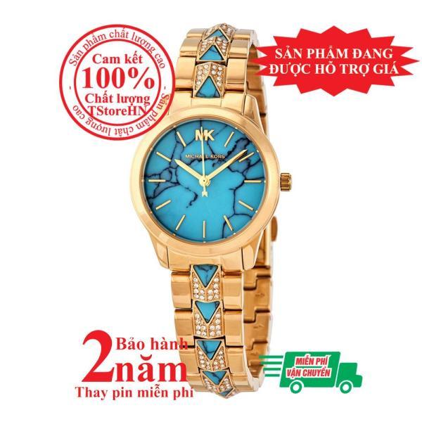 Đồng hồ nữ MK Petite Runway Mercer MK6673 - Vỏ và dây màu Vàng (Gold), mặt đồng hồ màu lam , dây nạm đá pha lê Swarovski, size 28mm - MK6673