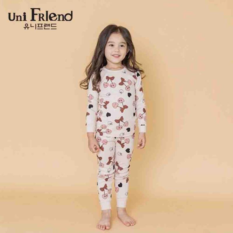 Nơi bán Đồ bộ mặc nhà bé gái Unifriend thun dài hoạ tiết hoạt hình U8FWTD05