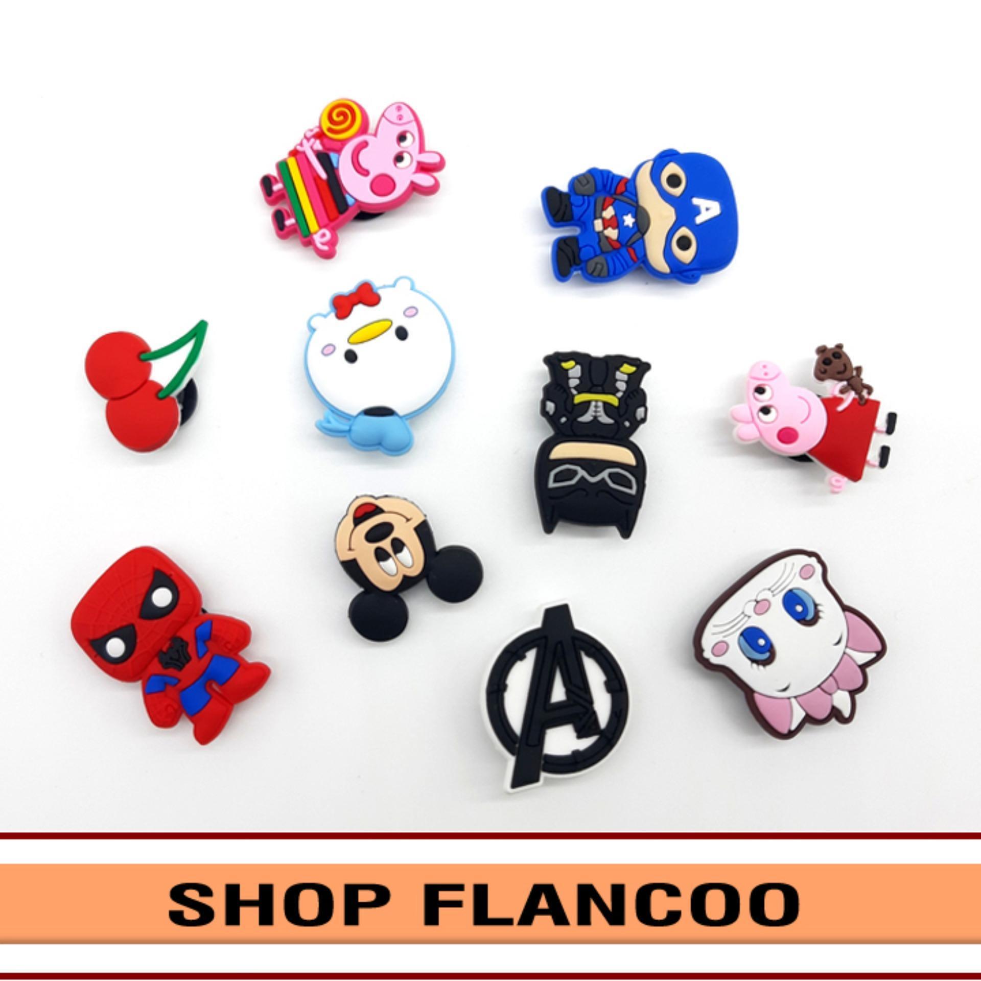 Bộ 10 Sticker 2D gắn dép cá sấu, dép sục Flancoo S4011 (giao ngẫu nhiên không lựa mẫu)