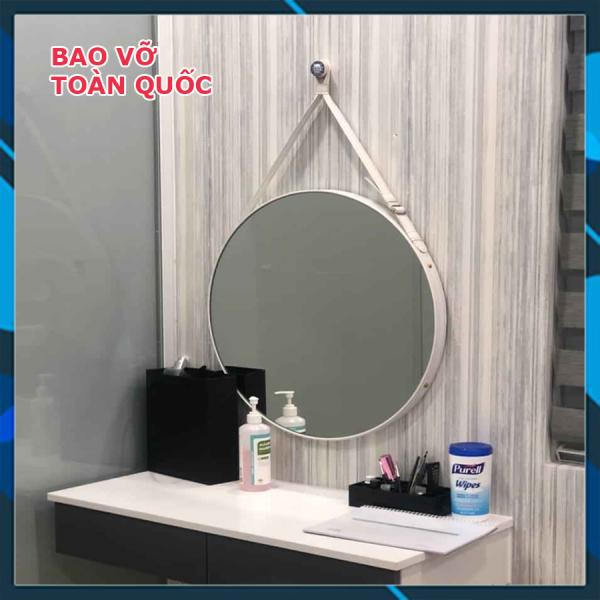 (Size 50cm) Gương Tròn Treo Tường Viền Da Simili (Màu trắng) giá rẻ