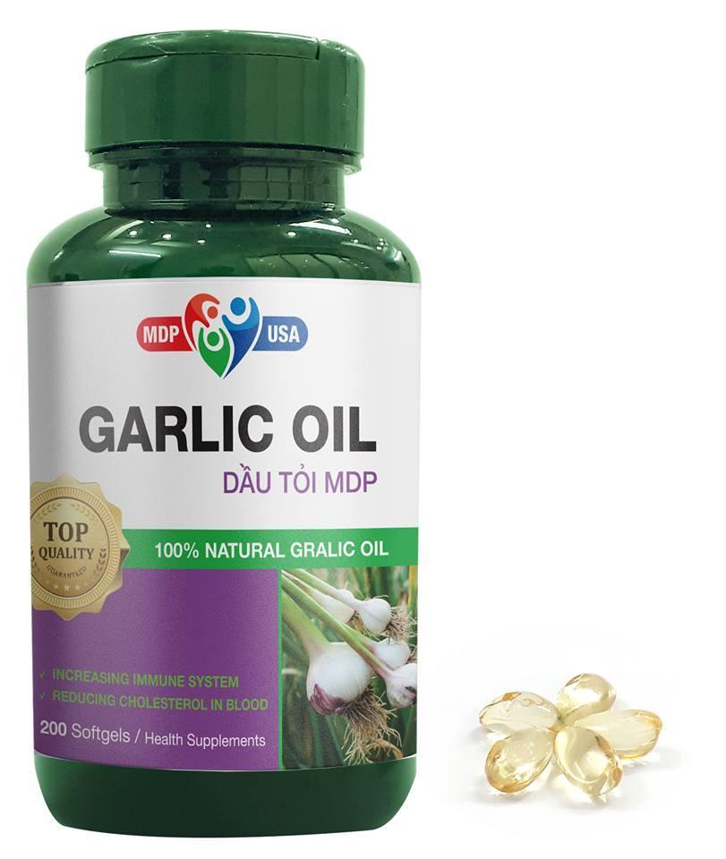 Dầu Tỏi Tía Nguyên Chất MDP - Garlic Oil Softgels - Lọ 200 viên nhập khẩu