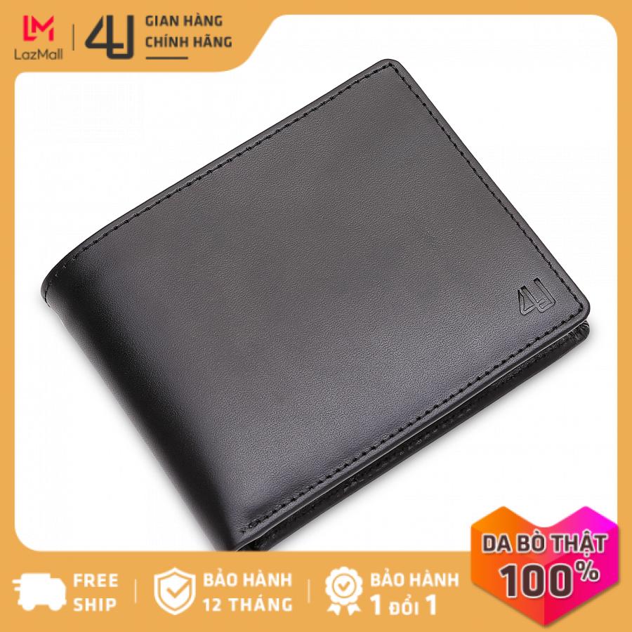 Bóp ví nam da bò thật 4U cao cấp dáng ngang, nhiều ngăn đựng tiền và thẻ FA162D (Đen)