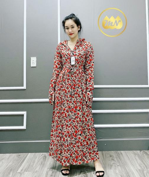 Áo khoác chống nắng nữ toàn thân 3 lớp vải lanh nhung Nhật mát lịm dài phủ kín chân, che năng kỹ lưỡng