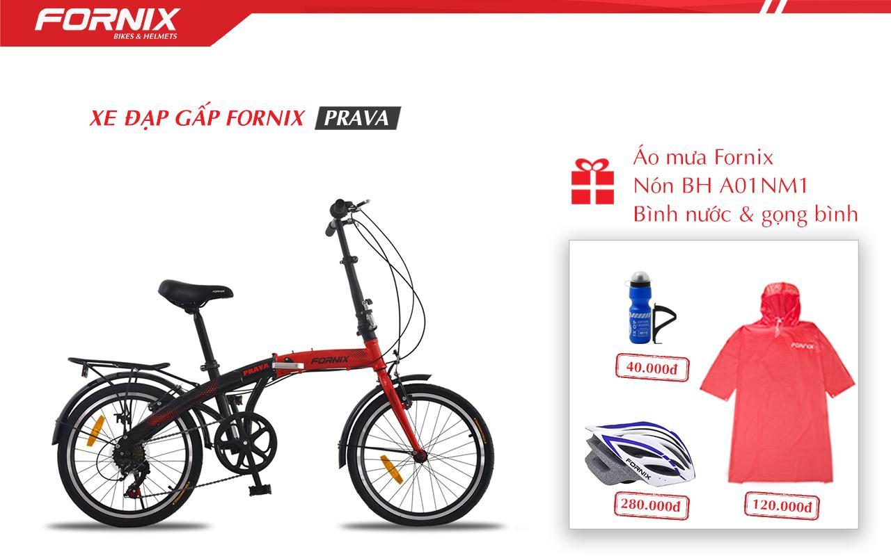 Mua Xe đạp gấp hiệu FORNIX, mã PRAVA (NEW)+ (Gift) Nón BH A01NM1, Áo mưa, Bình và gọng bình nước