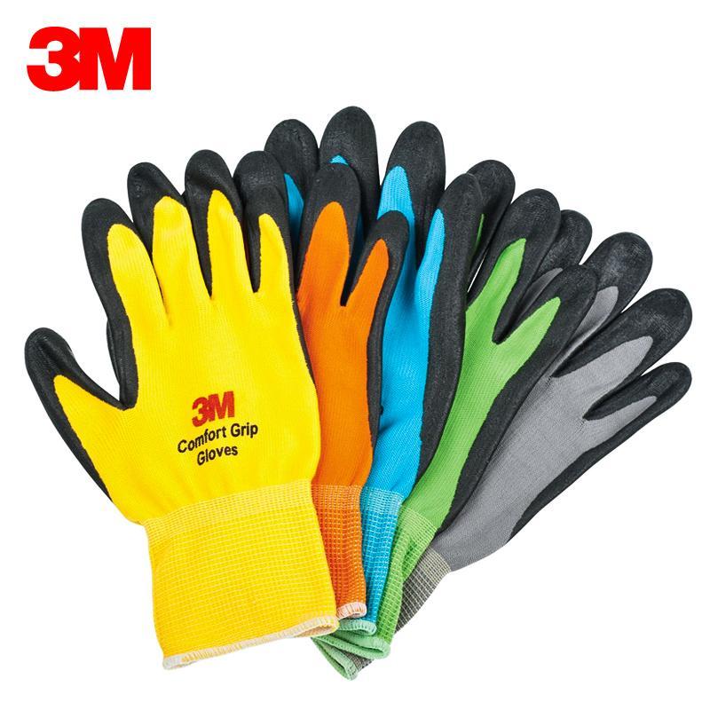 3M kenyamanan Anti Selip tahan banting sarung tangan industri pekerjaan tenaga kerja Nitril sawit dilapisi sarung tangan perlindungan pekerja Pelindung sarung tangan bernapas
