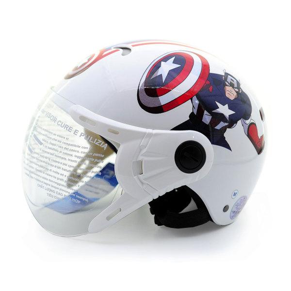 Giá bán Mũ Bảo Hiểm Trẻ Em 1/2 Đầu Có Kính Họa Tiết Siêu Anh Hùng Marvel CapTain American, An Toàn, Thời Trang, Nhẹ Nhàng, Chắc Chắn PROTEC KITTY