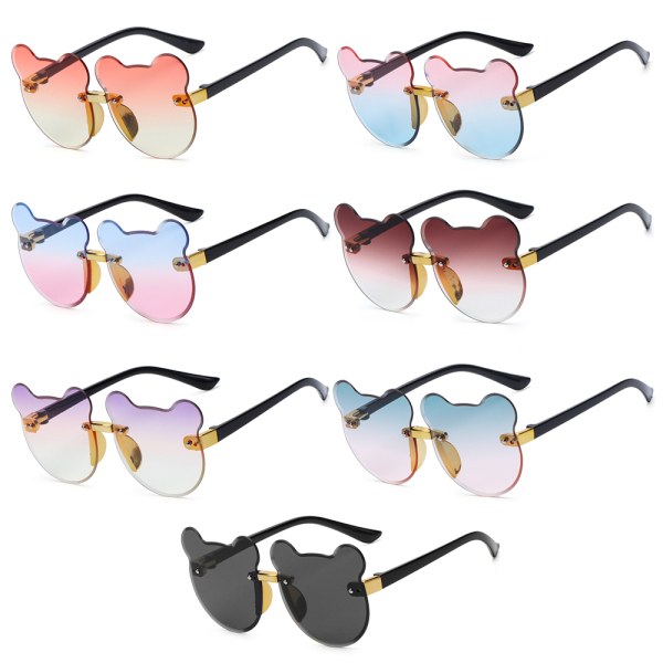 Giá bán REPAIR RESENTMENT35RE0 for Boys Girls Party Outdoors UV400 Eyewear Children Rimless Sun Glasses Cartoon Bear Kids Sunglasses