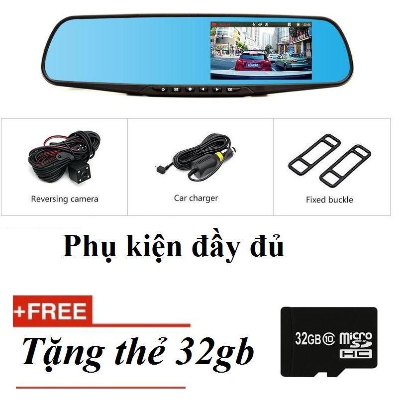 Camera Hành Trình Gương Chiếu Hậu (4.3inch), Kèm Camera Lùi Vehicle Blackbox Fullhd 1080+thẻ 32gb By Yumimi Shop.