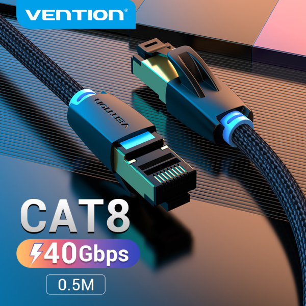 Bảng giá dây cáp mạng Lan Vention Cat8 Ethernet Cable RJ45 SFTP Patch Cord Internet Cable 40Gbs Super Speed Cotton  Braided Network Wifi Cable 1M 2M 3M 5M 10M for PC Laptop Macbook Router dây cáp mạng Cat 8 Phong Vũ