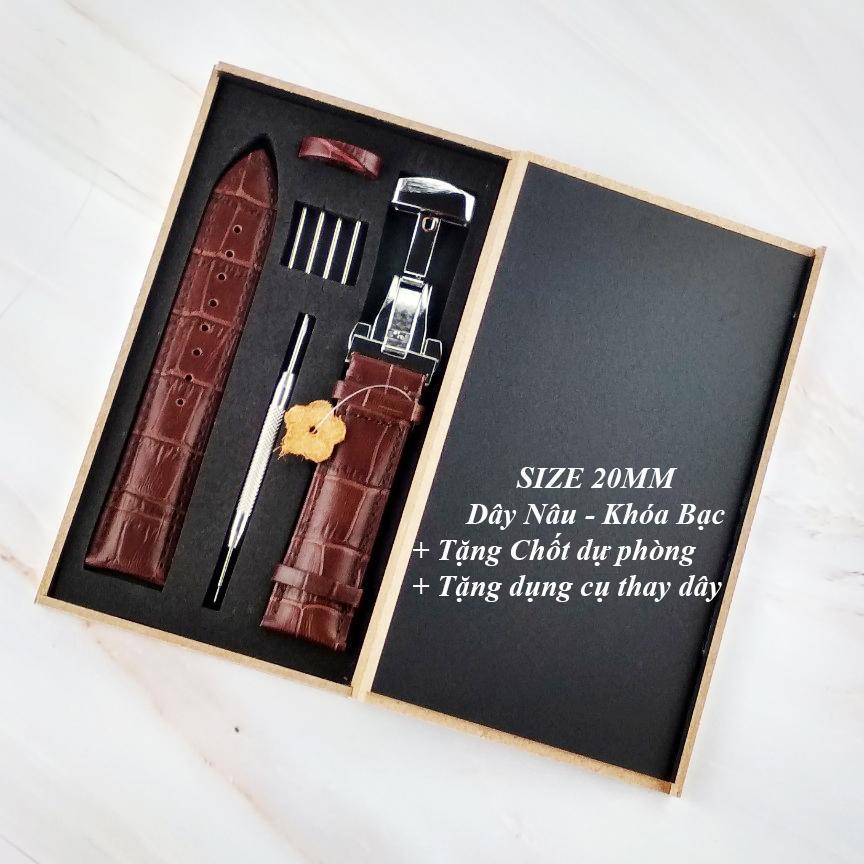 Nơi bán Dây đồng hồ da bò cao cấp tặng Hộp Gỗ SIZE 20mm ( Da NÂu) kèm khóa bướm thép không gỉ 316L (Trắng)