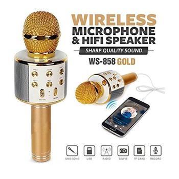( Sale hàng giá SỐC) Mic karaoke kèm loa bluetooth wster ws-858 cực hay, cực sang. hát cực đã