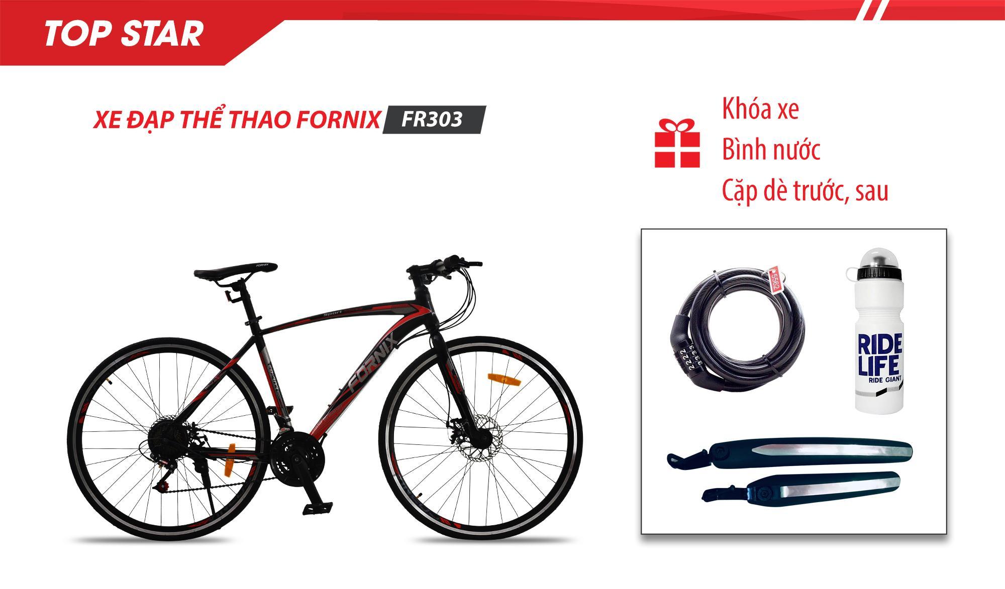 Mua Xe đạp thể thao FR-303, Vòng bánh 700C- Bảo hành 12 tháng + (gift) Khóa xe cao cấp- Bình nước- Cặp dè