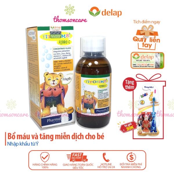 Bổ sung sắt, Vitamin C, kẽm cho bé - Siro Ferro C Bimbi của Fitobimbi, nhập khẩu từ Ý chai 200ml