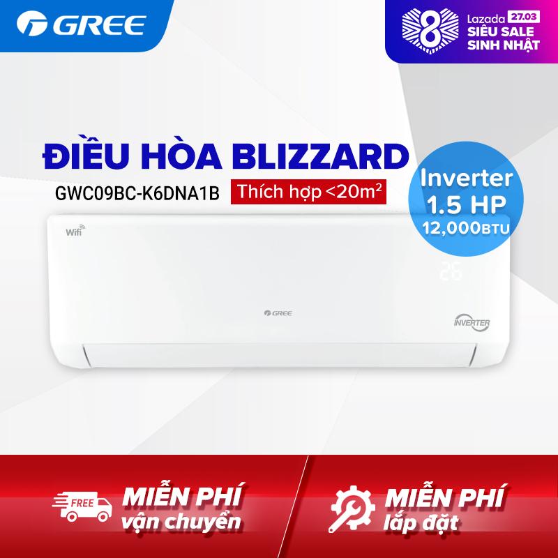 Bảng giá Điều hòa GREE- công nghệ Real Inverter - 1.5 HP (12.000 BTU) - BLIZZARD GWC12BC-K6DNA1B (Trắng) - Hàng phân phối chính hãng