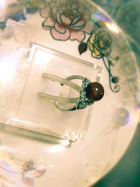 nhẫn bạc tinh khiết + ngọc trai thật 8li kiểu cánh tim
