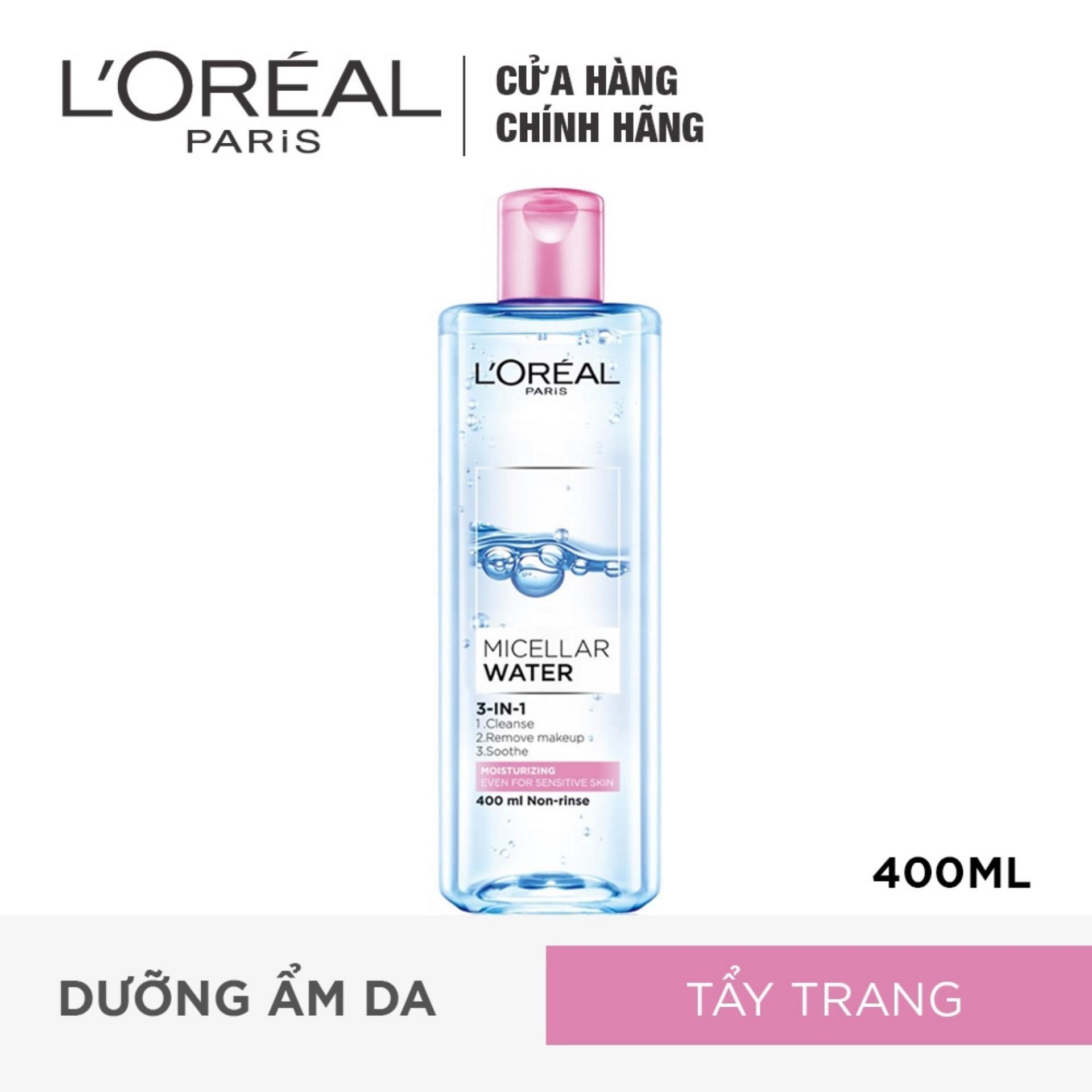 Nước tẩy trang dưỡng ẩm LOreal Paris Micellar Water 400ml (màu hồng)