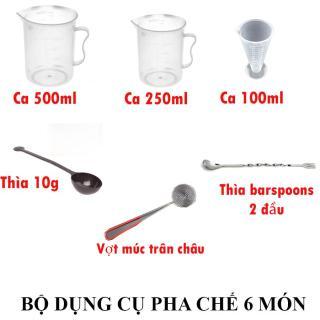 Combo bộ dụng cụ pha chế 6 món (ca 500-250-100ml, thìa 10g, thìa khuấy hai đầu, vợt múc trân châu) thumbnail