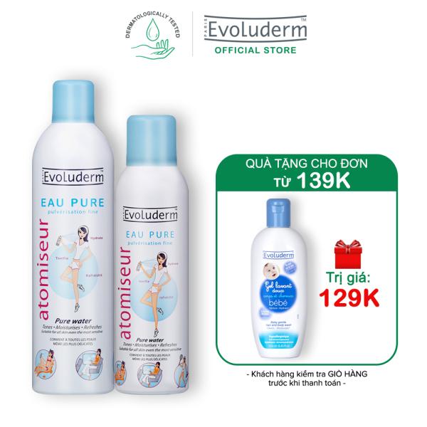 [Từ 26.12-03.01-Quà cho đơn hàng 139k] Bộ 2 sản phẩm xịt khoáng dưỡng da cấp ẩm Evoluderm Atomiseur Eau Pure 400ml và 150ml nhập khẩu