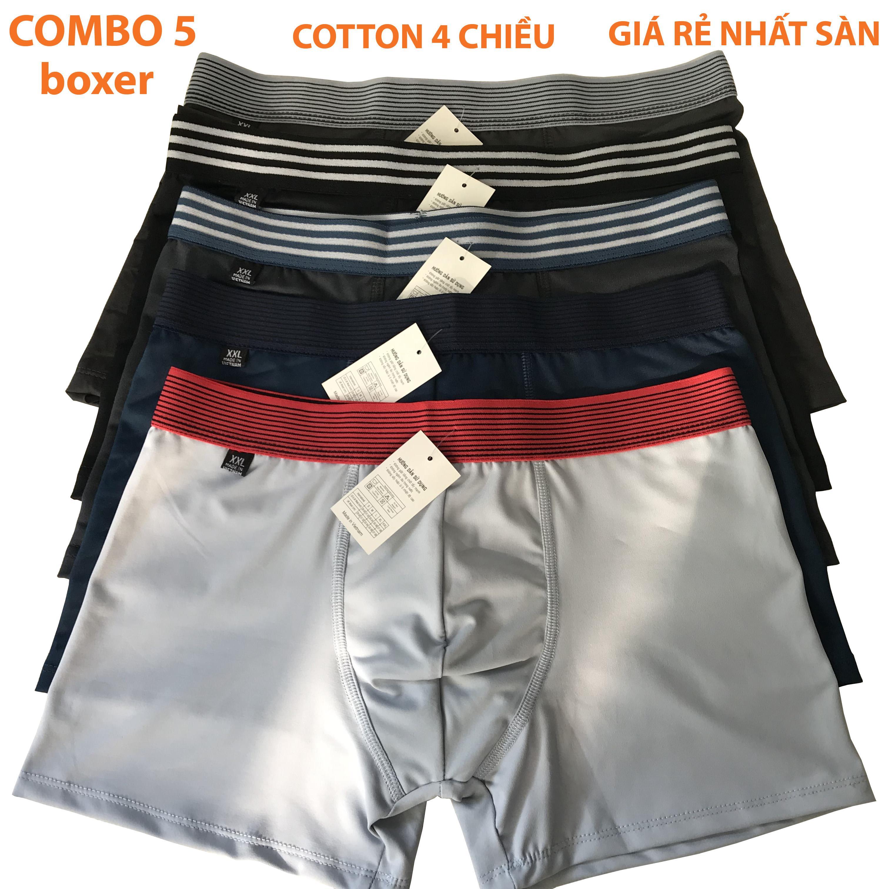 Combo 5 Quần Lót Boxer, Quần Sịp đùi 100% Cotton Co Giản 4 Chiều Thoát Hơi Tốt Bền đẹp Giá Rẻ Cho Nam By Giày Bình An.