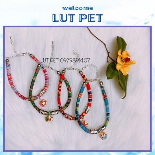 Vòng cổ lục lạc thời trang cho chó mèo - vòng boho thổ cẩm cho thú cưng phụ kiện chó mèo
