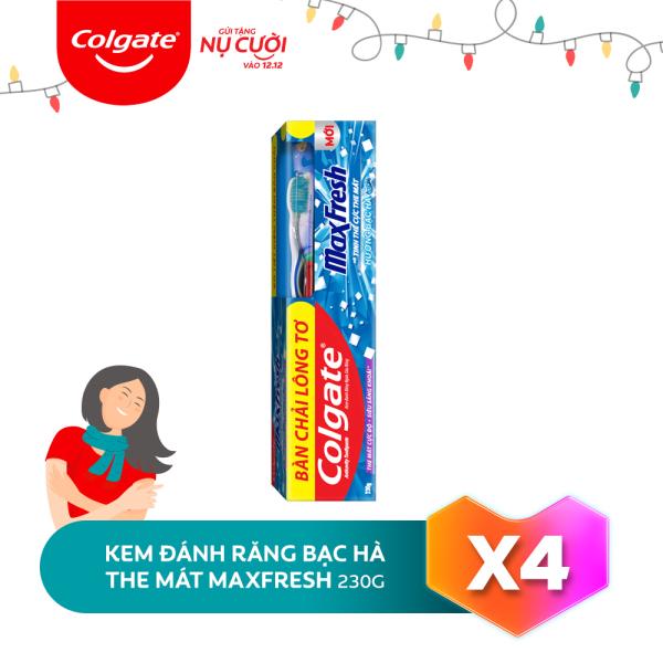 Bộ 4 Kem đánh răng Colgate bạc hà the mát Maxfresh 230g/tuýp tặng bàn chải đánh răng lông mềm nhập khẩu