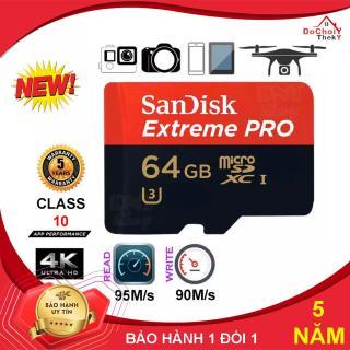 [Nhập ELMAY21 giảm 10% tối đa 200k đơn từ 99k]Thẻ nhớ MicroSDHC SanDisk Extreme PRO - 64GB U3 Class 10 UHS-I 95MB s - BẢO HÀNH 5 NĂM thumbnail