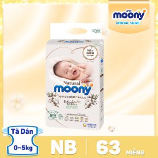 Tã Bỉm dán siêu cao cấp Moony Natural Newborn - 63 miếng bề mặt bông tự nhiên 100% cotton organic thumbnail