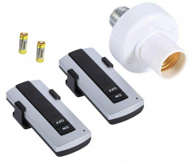 [2 ĐIỀU KHIỂN] Đui đèn điều khiển từ xa mạ vàng có Remote, Đuôi đèn E27 điều khiển từ xa bằng sóng RF