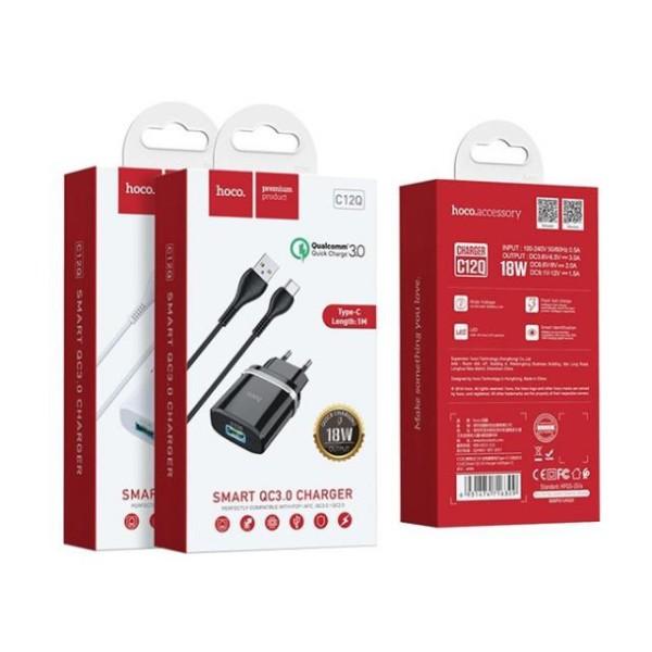 Bộ Sạc Nhanh HOCO C12Q 3.0 18W  Type C, Micro USB ( Bao gồm cốc sạc + cáp) Bảo Hành 1 Năm