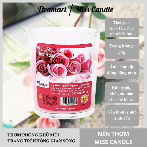 [HCM]Ly nến thơm votive Miss Candle FTRAMART NQM0413 Tea Rose (Hương hoa hồng)