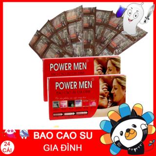 ( Combo 2 hộp 24 chiếc ) Bao cao su Powermen Gia đình - chiếc Bao cao su siêu mỏng, trơn Powermen gia đình - Bcs gia đình giá rẻ - Bao cao su dành cho gia đình thumbnail
