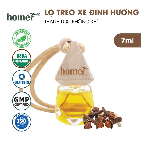Tinh dầu treo HOMER Đinh hương 7ml - Khử mùi, kháng khuẩn trong không khí - Treo tủ, treo xe ô tô, treo phòng