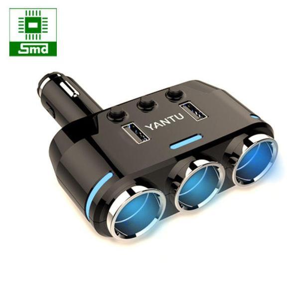 Bộ chia tẩu sạc ô tô 2 đầu ra + 2 cổng USB sạc nhanh QC 3.0 hiển thị điện áp YANTU B39