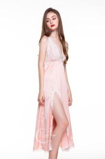 Dreamy - VD04 Váy ngủ lụa cao cấp dáng dài phối ren ngực xẻ tà quyến rũ, Váy ngủ lụa cao cấp, váy ngủ nữ, váy ngủ 2 dây, váy ngủ gợi cảm ,váy ngủ sexy,đầm ngủ lụa mặc nhà màu hồng pastel thumbnail