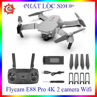Flycam mini giá rẻ E88 Pro 4K, 2 Camera 4K wifi mắt quang cân bằng khi bay, ảnh truyền trục tiếp về điện thoại thumbnail