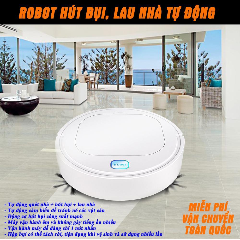 Máy Lau Nhà Tự Động, Robot Hút Bụi Lau Nhà, Robot Lau Nhà. Robot Dọn Nhà Thông Minh 3 In 1 - Quét, hút, lau nhà. Bảo Hành 1 Đổi 1. Giá Cực Sốc!!!