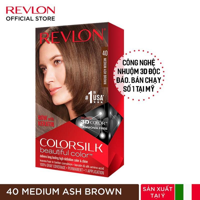 Nhuộm tóc thời trang Revlon Colorsilk 3D - 40 Medium Ash Brown - Nâu Gỗ Vừa (HSD từ 1 đến 6 tháng) giá rẻ
