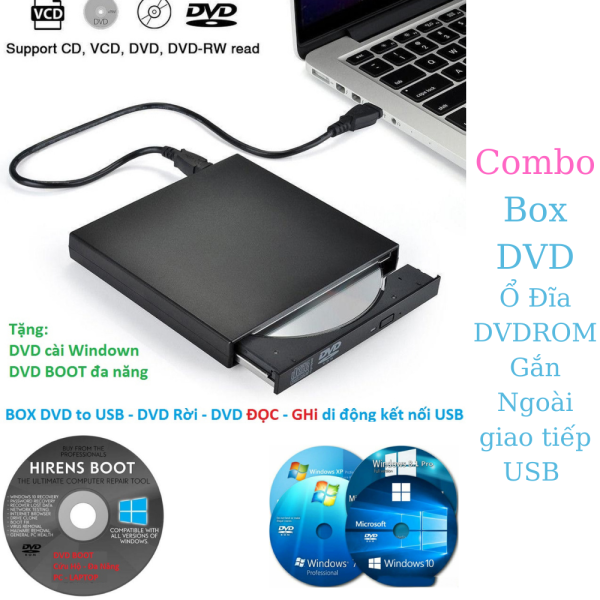 Bảng giá Combo Box DVD Ổ Đĩa DVDROM Gắn Ngoài giao tiếp USB  - Chức Năng ĐỌC và GHI - Ổ DVD/CD di dộng chạy trưc tiếp - Tặng Kèm Đĩa Phong Vũ