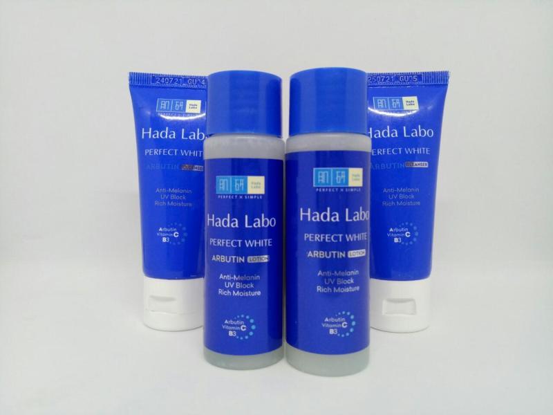 Trọn bộ 4 món dưỡng trắng da gồm : 2 chai Dung dịch Hada Labo Perfect White Lotion + Tặng 2 tuýt sữa rửa mặt Hada Labo PERFECT WHITE & kèm thêm 1 túi đựng mỹ phẩm