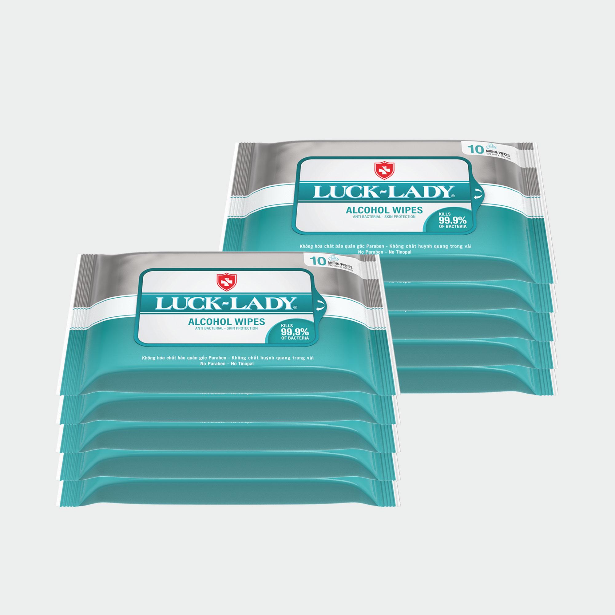 Combo 10 gói khăn ướt Luck Lady cồn (10 tờ / gói) nhập khẩu