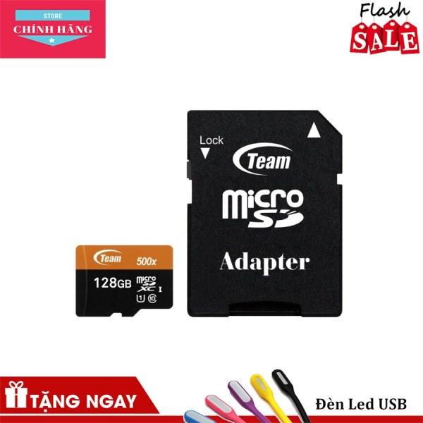 Thẻ nhớ microSDXC Team 128GB 500x upto 80MB/s C10 UHS-I kèm Adapter (Cam) tặng đèn LED - Bảo Hành 3 Năm