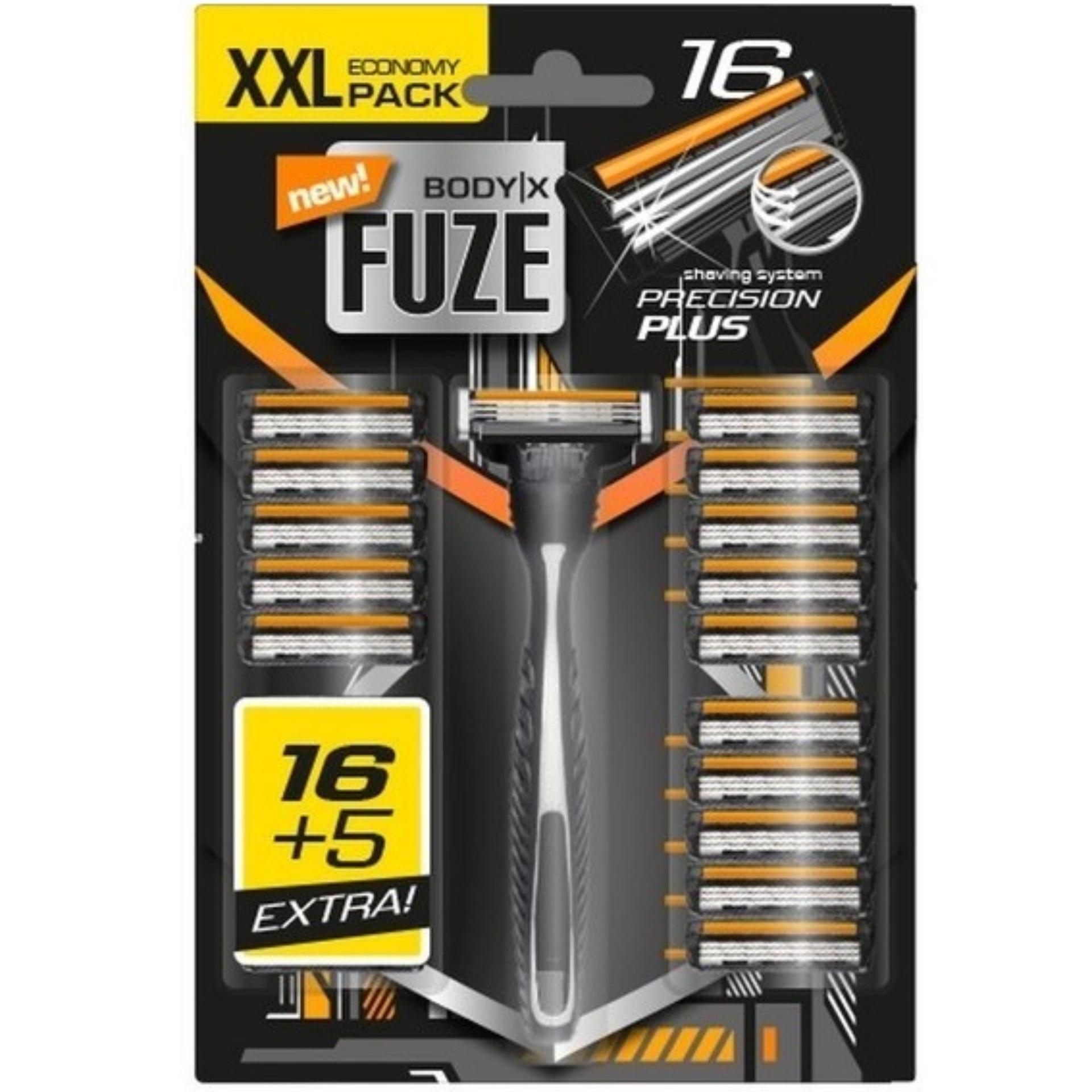 Set Dao cạo râu Body-X Fuze 3 lưỡi Razors Men Triple Blades + 21 đầu thay thế Germany giá rẻ