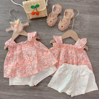 Bộ hè bé gái Cánh tiên hồng VD017 siêu xinh, chất liệu đũi mềm mại, phong cách đáng yêu, màu hồng, full size từ 8-18kg