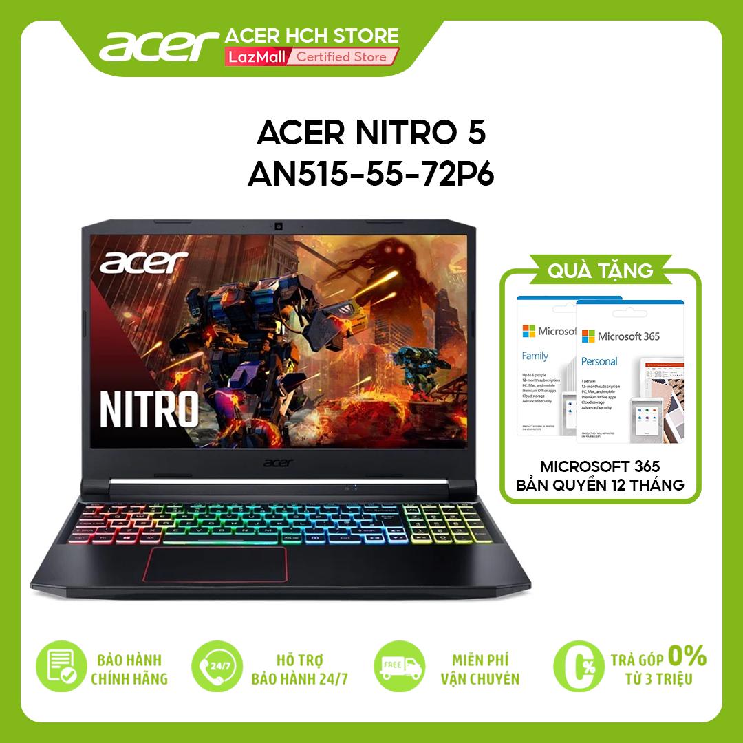 [VOUCHER 10% từ 27-29.03] Laptop Acer Nitro 5 AN515-55-72P6 i7-10750H   8GB   512GB   VGA GTX 1650 4GB   15.6'' FHD 144Hz   Win 10