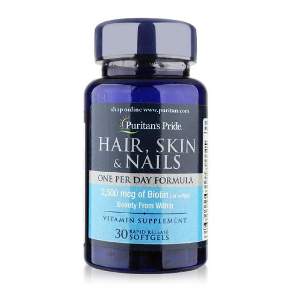 Sales sốc - Chống rụng tóc, tóc dày mượt, đẹp da, móng tay khỏe (hsd 29/9/2021) Puritans Pride Hair, Skin & Nails 30 Viên