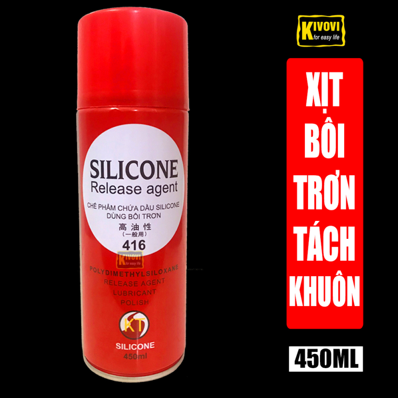 Chai Xịt Bôi Trơn Silicon Release Agent 416 450ml - Dầu Tách Khuôn Tạo Hình Nhựa, Nhựa Cao Su Chống Dính - Kivovi