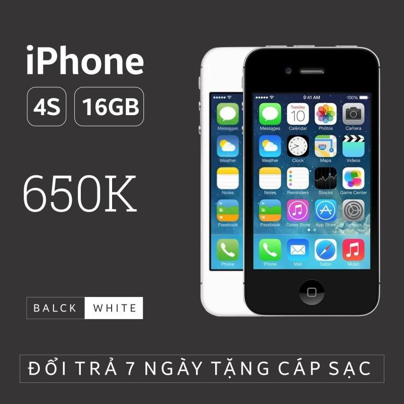 Điện thoại IPHONE 4S - 16GB giá rẻ - Phiên bản quốc tế - Bao đổi trả (Màu ngẫu nhiên trắng/đen) - SIÊU UY TÍN